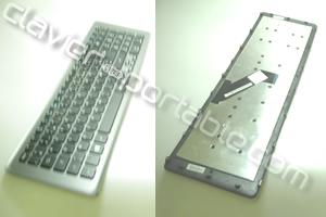 Clavier français noir cadre argent pour Acer Travelmate P273-MG
