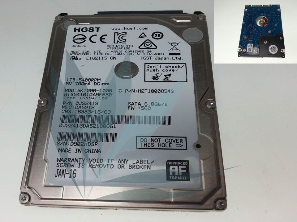 Disque dur HDD neuf SATA Hitachi 1TO 5400RPM 8MB 9,5MM